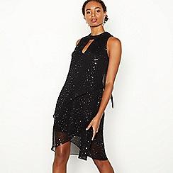 Debut - Black Sparkle Tiered Knee Length Shift Dress