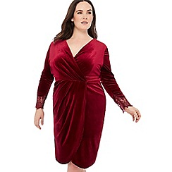 Debut - Wine Velvet Lace Cuff Knee Length Dress