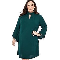 Debut - Dark green lace cuff knee length plus size dress