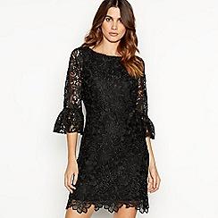 Debut - Black lace bell sleeve mini shift dress
