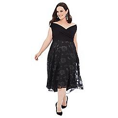Debut - Black floral burnout 'Bria' high low plus size dress