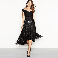 Debut - Black floral burnout 'Bria' high low dress