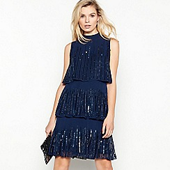 Debut - Blue tiered sequin knee length tunic dress
