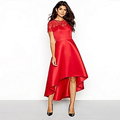 Chi Chi London - Red floral lace sweetheart neckline short sleeve high-low dress