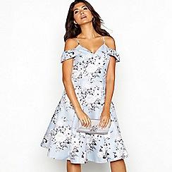 Chi Chi London - Pale blue floral jacquard 'Em' V-neck cold shoulder knee length dress