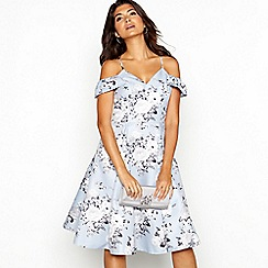 Chi Chi London - Pale blue floral jacquard 'Em' V-neck cold shoulder knee length dress