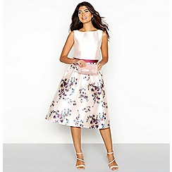Chi Chi London - Pink floral print satin square neck knee length dress