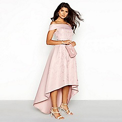 Chi Chi London - Taupe embroidered 'Rania' Bardot neck high low evening dress