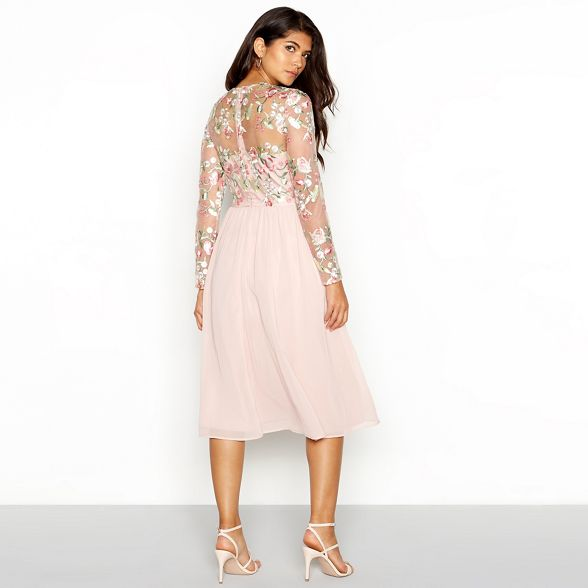 'Bee' Chi sleeve midi pink chiffon embroidered round Pale dress London neck floral long Chi Prxq7P0F