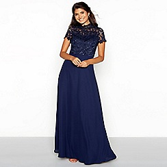 Chi Chi London - Navy floral lace chiffon high neck short sleeve full length dress