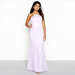 Chi Chi London - Purple floral lace chiffon halter neck sleeveless full length dress
