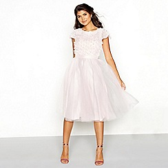 Chi Chi London - Rose pink floral embellished tulle high neck short sleeve knee length dress