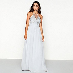 Chi Chi London - Light blue embroidered chiffon 'Ashley' high neck full length dress