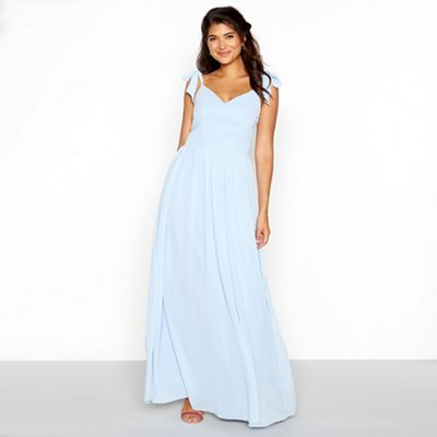 Chi Chi London   Blue Chiffon V Neckline Full Length Dress by Chi Chi London