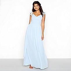 Chi Chi London - Blue chiffon V-neckline full length dress
