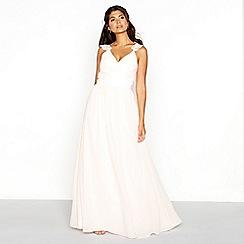 Chi Chi London - Pale pink chiffon V-neckline full length dress