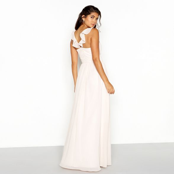 Chi length neckline full dress Chi chiffon V London pink Pale APqrwA ...