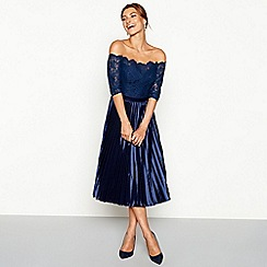 Chi Chi London - Navy lace Bardot neck pleated midi dress