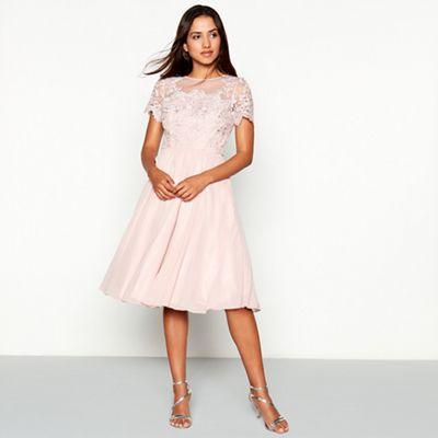 Chi Chi London Taupe floral embroidered chiffon  Joanne  round neck short  sleeve knee length dress   Debenhams 1f0fec6207