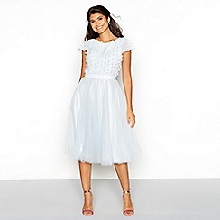 Chi Chi London - Light blue floral embellished tulle high neck short sleeve knee length dress