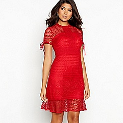 Chi Chi London - Red broderie 'Christelle' high neck short sleeve mini dress