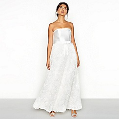 Chi Chi London - White satin textured 'Mary' bandeau full length wedding dress