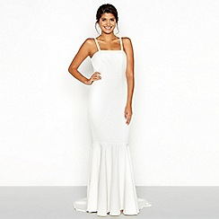Chi Chi London - White bandeau high low fishtail wedding dress