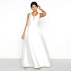 Chi Chi London - White satin 'Marla' V-neck full length bridal dress