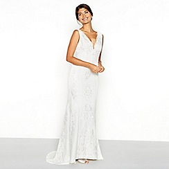 Chi Chi London - White floral lace embroidered 'Lavinia' V-neck high low wedding dress