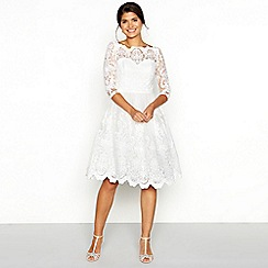 Chi Chi London - White floral lace tulle square neck knee length wedding dress