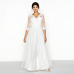 Chi Chi London - White lace mesh 'Sophia' V-neck full length wedding dress