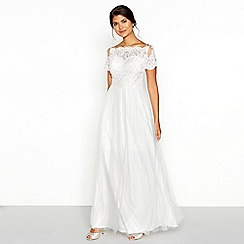 Chi Chi London - White lace 'Isabella' short sleeve full length wedding dress