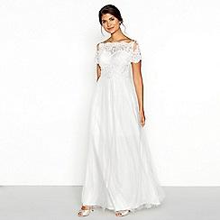 Chi Chi London - White lace 'Isabella' short sleeve full length wedding dress
