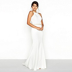 Chi Chi London - White diamante embellished 'Hannah' high neck high low wedding dress