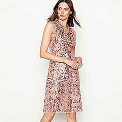 No. 1 Jenny Packham - Dark pink sequin 'Rosanne' V-neck mini evening dress