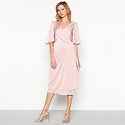 No. 1 Jenny Packham - Dark pink diamante jersey 'Melissa' V-neck short sleeve midi shift dress