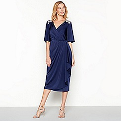 No. 1 Jenny Packham - Navy diamante jersey 'Melissa' V-neck short sleeve midi shift dress