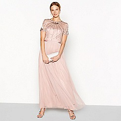 No. 1 Jenny Packham - Dark pink  Sadie  embellished body maxi dress