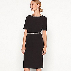 No. 1 Jenny Packham - Black embellished 'Ella' round neck short sleeve knee length shift dress