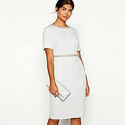 No. 1 Jenny Packham - Silver embellished 'Ella' round neck short sleeve knee length shift dress