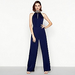 No. 1 Jenny Packham - Navy gemstone 'Jospehine' high neck jumpsuit