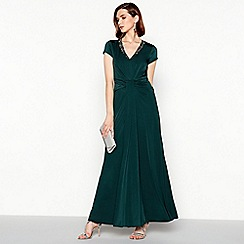 No. 1 Jenny Packham - Dark green crystal embellished 'Marina' maxi dress
