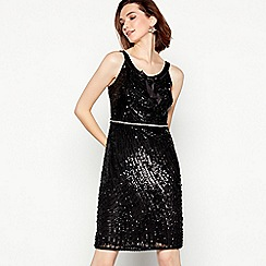 No. 1 Jenny Packham - Black embellished bow 'Bourbon' knee length occasion dress