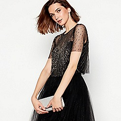 No. 1 Jenny Packham - Black embellished bow tulle short sleeve top