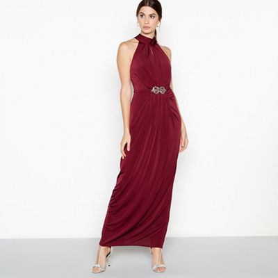 Debut   Wine Red 'lilian' Crystal Embellished Jersey Maxi Dress by Debut