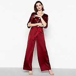 No. 1 Jenny Packham - Dark red sequinned 'Sandra' satin wide leg jumpsuit