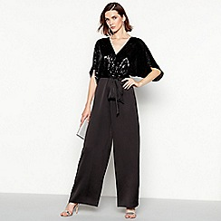 No. 1 Jenny Packham - Black sequinned 'Sandra' satin wide leg jumpsuit
