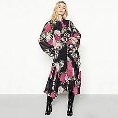 MW by Matthew Williamson - Multicoloured floral print chiffon long sleeve midi dress