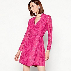 MW by Matthew Williamson - Pink mesh 'Mandarin' mini wrap dress