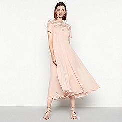 MW by Matthew Williamson - Light pink embellished mesh short sleeve midi occasion dress